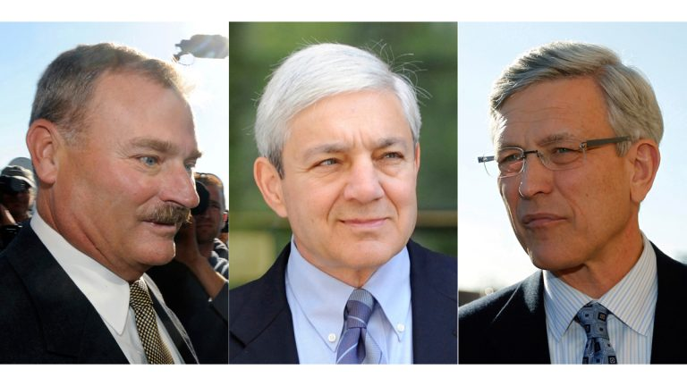 This file photo combination shows (from left) former Penn State vice president Gary Schultz, former Penn State President Graham Spanier, and  former Penn State athletic director Tim Curley, in Harrisburg, Pa. Schultz, Curley and Spanier received jail sentences on child endangerment charges June 2, 2017, for failing to report a 2001 allegation about former Penn State University assistant football coach Jerry Sandusky to authorities. (AP Photos, file)