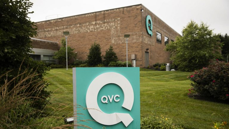 A corporate sign is shown outside a QVC facility in West Chester, Pa., Friday, July 7, 2017. (Matt Rourke/AP Photo)