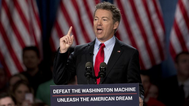 Sen. Rand Paul, R-Ky. announces the start of his presidential campaign, Tuesday, April 7, 2015, at the Galt House Hotel in Louisville, Ky. Paul launched his 2016 presidential campaign Tuesday with a combative message against both Washington and his fellow Republicans, declaring that 'we have come to take our country back.' (Carolyn Kaster/AP Photo)