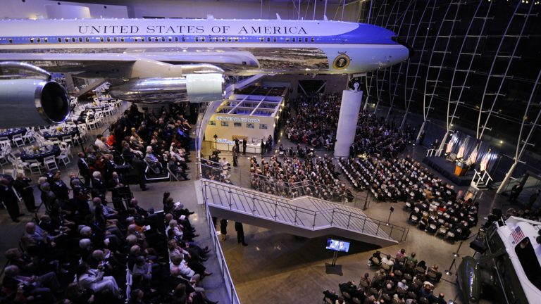 A decommissioned presidential aircraft sits in the Ronald Reagan Presidential Library and Museum, Thursday, Nov. 18, 2010, in Simi Valley, Calif. (Mark J. Terrill/AP Photo)