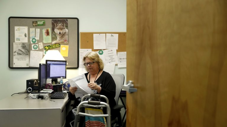 In this Tuesday, March 21, 2017, file photo, Mary Lytle-Gaines works in her office in St. Louis. With her mobile home paid off, the 61-year-old social worker had hoped to semi-retire next year and work part time, but now with insurance premiums likely to rise for her age group and income level she believes that may not be possible. (Jeff Roberson/AP Photo, file)
