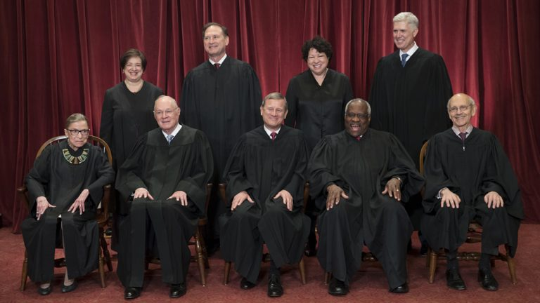 The justices of the U.S. Supreme Court gather for an official group portrait to include new Associate Justice Neil Gorsuch, top row, far right, at the Supreme Court Building in Washington, Thursday. June 1, 2017. Seated in bottom row are, from left, Associate Justice Ruth Bader Ginsburg, Associate Justice Anthony M. Kennedy, Chief Justice of the United States John G. Roberts, Associate Justice Clarence Thomas, and Associate Justice Stephen Breyer. Standing in top row are, from left, Associate Justice Elena Kagan, Associate Justice Samuel Alito Jr., Associate Justice Sonia Sotomayor, and Associate Justice Neil Gorsuch. (J. Scott Applewhite/AP Photo)