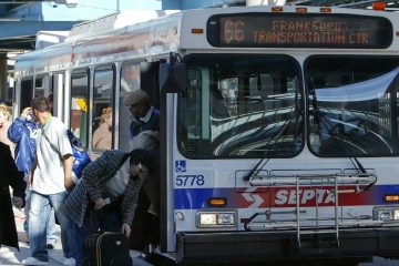 Commuters are shown exiting a SEPTA bus. (AP Photo/Joseph Kaczmarek, file)