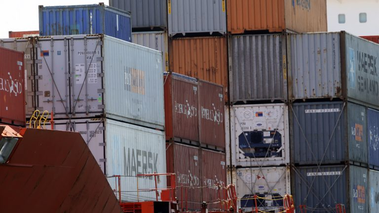 Shipping Containers are seen on deck as the Bahia Castillo