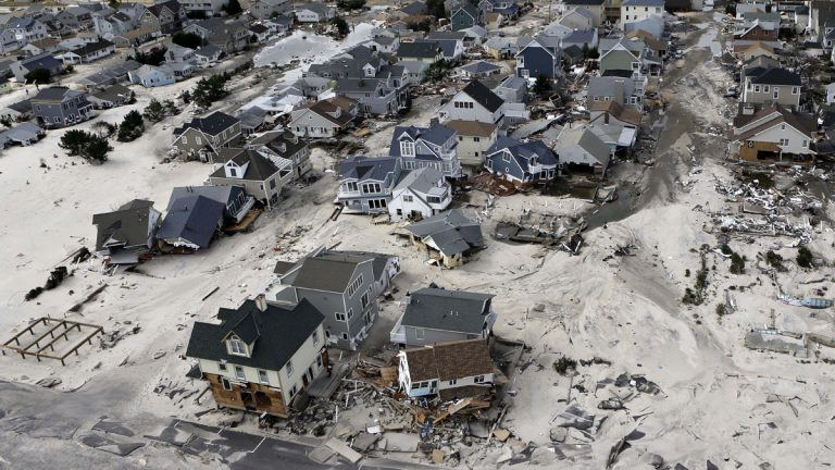 In this Oct. 31, 2012 file photo, a view from the air shows the destroyed homes left in the wake of Superstorm Sandy in Ortley Beach, N.J. (Mike Groll/AP Photo, File)