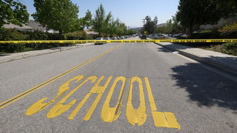 A police yellow tap is seen outside North Park School after a shooting ,Monday, April 10, 2017, in San Bernardino, California. Legislators in Pennsylvania are debating the best way to keep students safe. (Ringo H.W. Chiu/AP Photo)