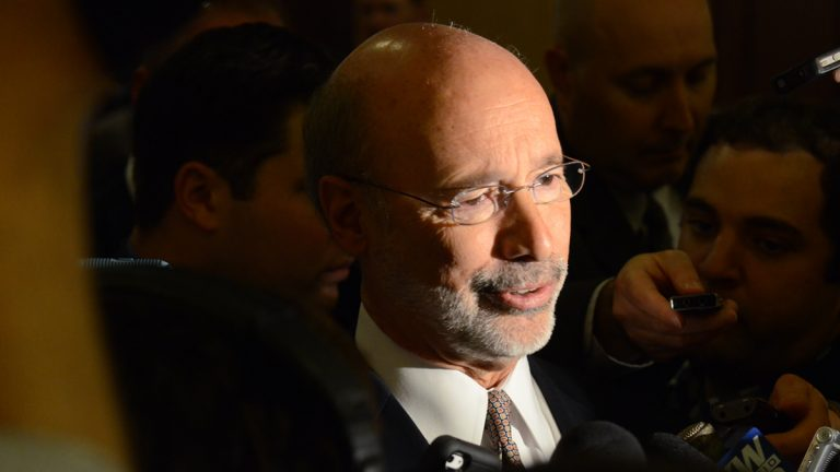 Gov. Tom Wolf responds reporters' questions after speaking at a Pennsylvania Press Club luncheon Monday, Nov. 23, 2015 in Harrisburg, Pa. (Marc Levy/AP Photo)