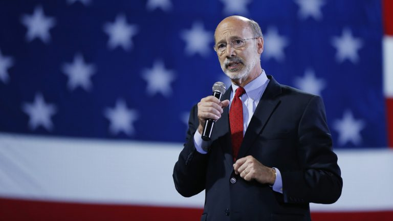 Pennsylvania Democratic gubernatorial nominee Tom Wolf speaks to supporters during a primary election night watch party Tuesday, May 20, 2014, in York, Pa. Pennsylvania Democrats have chosen Wolf to challenge Republican Gov. Tom Corbett in the fall. (Matt Rourke/AP Photo)