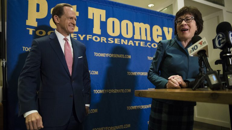 Sen. Susan Collins, R-Maine, campaigns for Sen. Pat Toomey, R-Pa., in Villanova, Pa., Tuesday, Oct. 11, 2016. Collins campaigned in Philadelphia's crucial swing suburbs Tuesday to help Republican Sen. Pat Toomey in his neck-and-neck re-election bid. Toomey's race against Democratic challenger Katie McGinty could tip control of the chamber. (Matt Rourke/AP Photo)