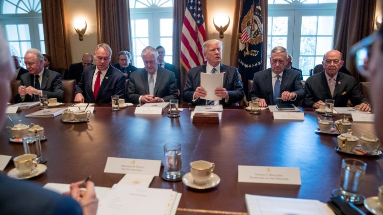 President Donald Trump speaks during a meeting with his Cabinet in the Cabinet Room of the White House in Washington, Monday, March 13, 2017. From left are, Health and Human Services Secretary Tom Price, Interior Secretary Ryan Zinke, Secretary of State Rex Tillerson, the president, Defense Secretary Jim Mattis, and Secretary of Commerce Wilbur Ross. (Andrew Harnik/AP Photo)