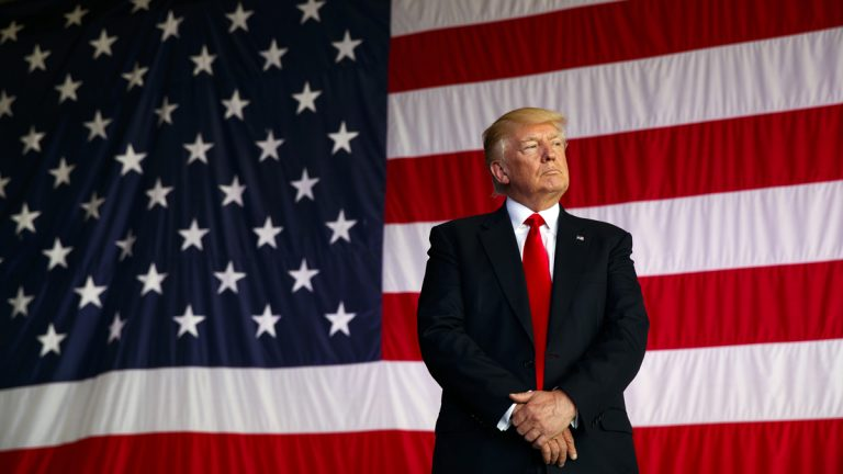 President Donald Trump is introduced to speak to U.S. military troops at Naval Air Station Sigonella, Saturday, May 27, 2017, in Sigonella, Italy. (Evan Vucci/AP Photo)