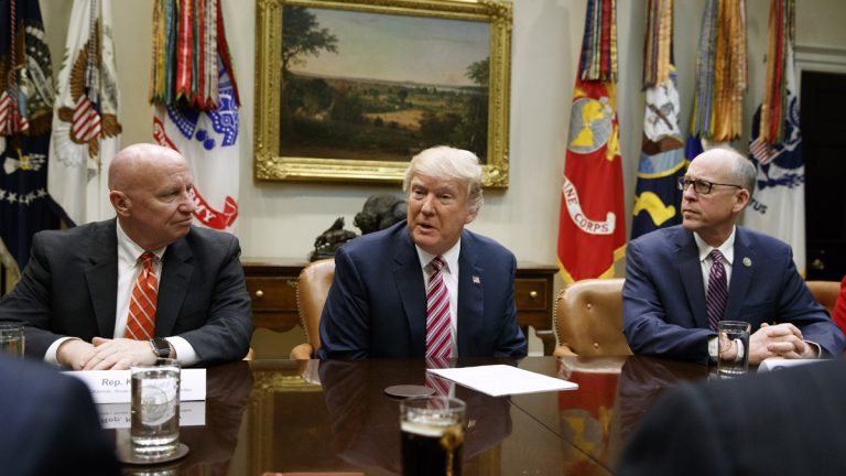 President Donald Trump, flanked by House Ways and Means Committee Rep. Kevin Brady, R-Texas, (left), and House Energy and Commerce Committee Chairman Rep. Greg Walden, R-Org., speaks in the Roosevelt Room of the White House in Washington, Friday, March 10, 2017, during a meeting on healthcare. (Evan Vucci/AP Photo)