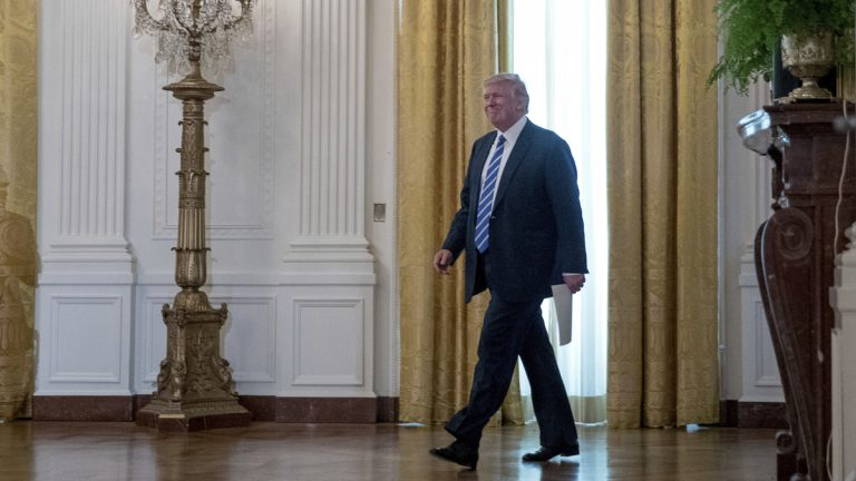 President Donald Trump arrives for a meeting with the House Deputy Whip team, Tuesday, March 7, 2017, in Washington. (Andrew Harnik/AP Photo)