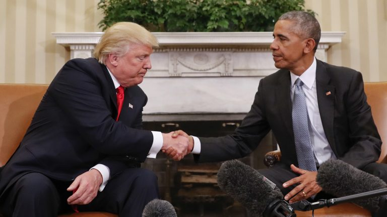 President Barack Obama and President-elect Donald Trump shake hands following their meeting in the Oval Office of the White House in Washington, Thursday, Nov. 10, 2016. (Pablo Martinez Monsivais/AP Photo)
