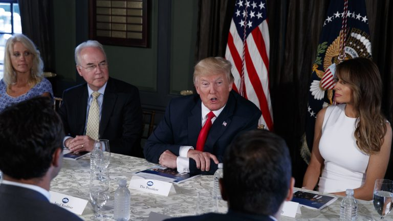 President Donald Trump speaks during a briefing on the opioid crisis, Tuesday, Aug. 8, 2017, at Trump National Golf Club in Bedminster, N.J. (From left) White House senior adviser Kellyanne Conway, Health and Human Services Secretary Tom Price, Trump, and first lady Melania Trump. (Evan Vucci/AP Photo)