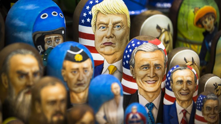 Matryoshkas, traditional Russian wooden dolls, including a doll of U.S. President Donald Trump, top, are displayed for sale in Moscow, Russia, Thursday, March 2, 2017. Trump has repeatedly said that he aims to improve relations with Russia, but Moscow appears frustrated by the lack of visible progress as well as by support from Trump Administration officials for continuing sanctions imposed on Russia for its interference in Ukraine. (Alexander Zemlianichenko/AP Photo)