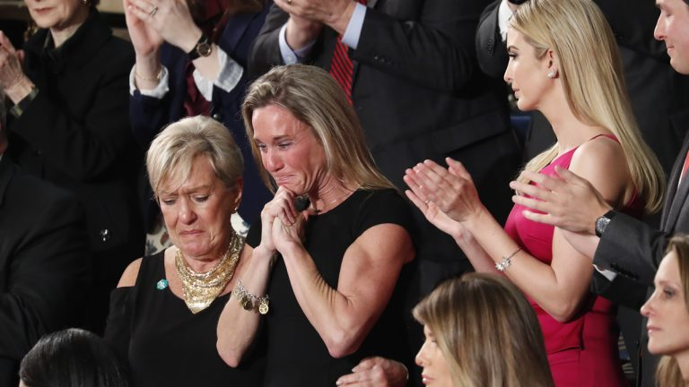 An emotional Carryn Owens, widow of Chief Special Warfare Operator William 'Ryan' Owens, on Capitol Hill in Washington, Tuesday, Feb. 28, 2017, as she was acknowledged by President Donald Trump during his address to a joint session of Congress.  (Pablo Martinez Monsivais/AP Photo)