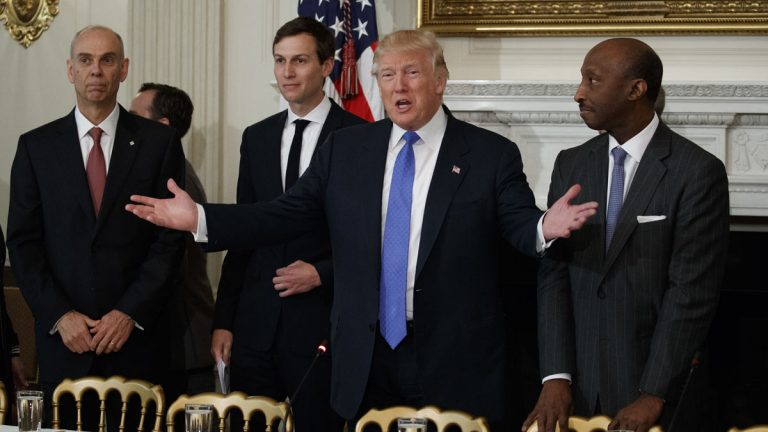 President Donald Trump welcomes manufacturing executives to a meeting at the White House in Washington, Thursday, Feb. 23, 2017. From left are, Archer Daniels Midland CEO Juan Luciano, White House Senior Adviser Jared Kushner, Trump, and Merck CEO Kenneth Frazier. (Evan Vucci/AP Photo)
