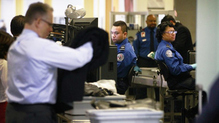 TSA workers are required to work without a paycheck during the shutdown. (WHYY, file)