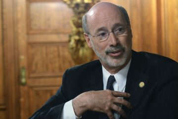 Gov. Tom Wolf speaks during an interview with The Associated Press in his Capitol offices, Wednesday, March 11, 2015 in Harrisburg, Pa. (Marc Levy/AP Photo)