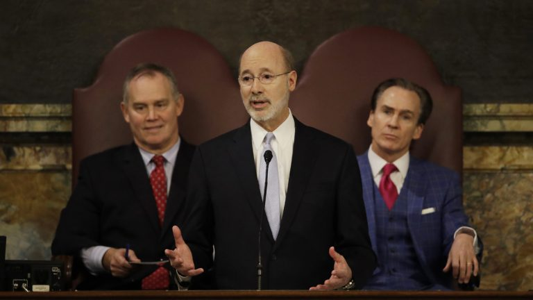 Gov. Tom Wolf delivers his budget address for the 2017-18 fiscal year to a joint session of the Pennsylvania House and Senate in Harrisburg