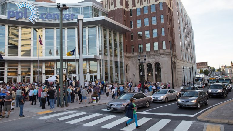 Crowds gather outside of the PPL Center in downtown Allentown on opening night Friday, September 12, 2014. (Lindsay Lazarski/WHYY)
