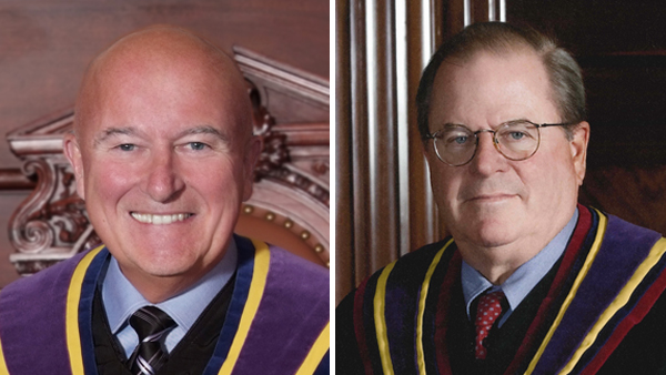 Pennsylvania Supreme Court Chief Justices Seamus McCaffery (left) and Ron Castille. (Image courtesy of pacourts.us)