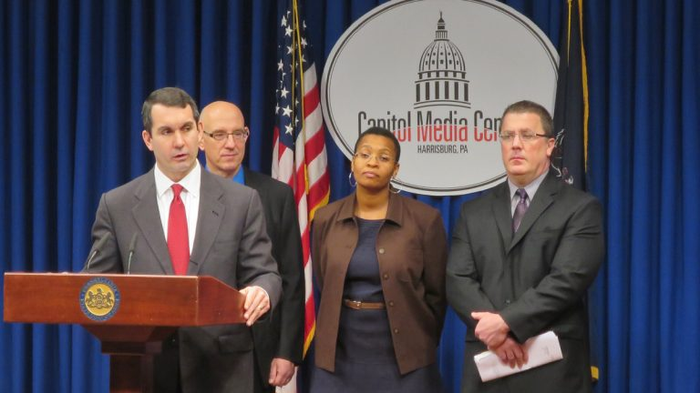Auditor General Eugene DePasquale discusses the details of an audit at the State Capitol. (Marielle Segarra/WHYY)