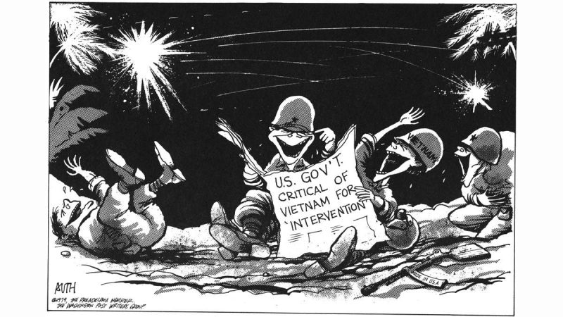 A Tony Auth political cartoon, dated 1979, showing Vietnamese soldiers laughing at a newspaper headline reading: