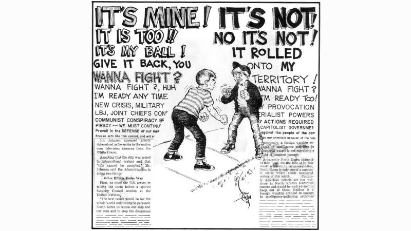 Tony Auth political cartoon showing two boys fighting over a ball, the words of their argument transitioning into newspaper clippings of coverage of the Vietnam War.