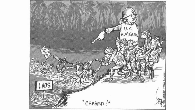 Tony Auth cartoon showing an Army officer representing