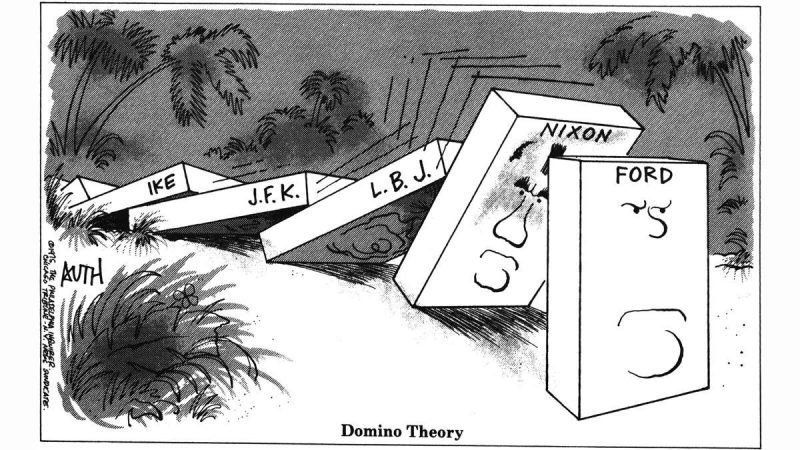 A Tony Auth political cartoon, dated 1975, showing the U.S. presidents as dominoes, where Eisenhower toppled JFK, who topples LBJ, who topples Nixon, who is about to topple Ford.