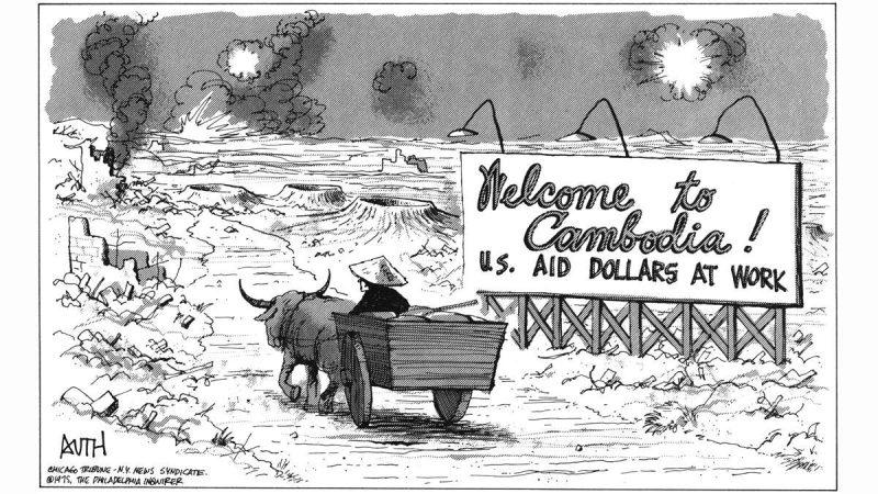 A Tony Auth political cartoon, dated 1975, showing a farmer driving an ox-pulled cart approaches a devastated countryside as he passes a sign that reads