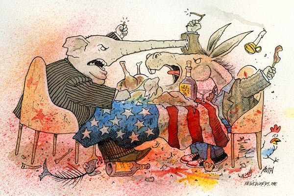 "<p><p>On the heels of the election, Thanksgiving tables around the country might have looked something like this as Republicans toured whine country and Democrats perfected their ""get out the gloat"" operation. (Illustration by Tony Auth)</p></p>"