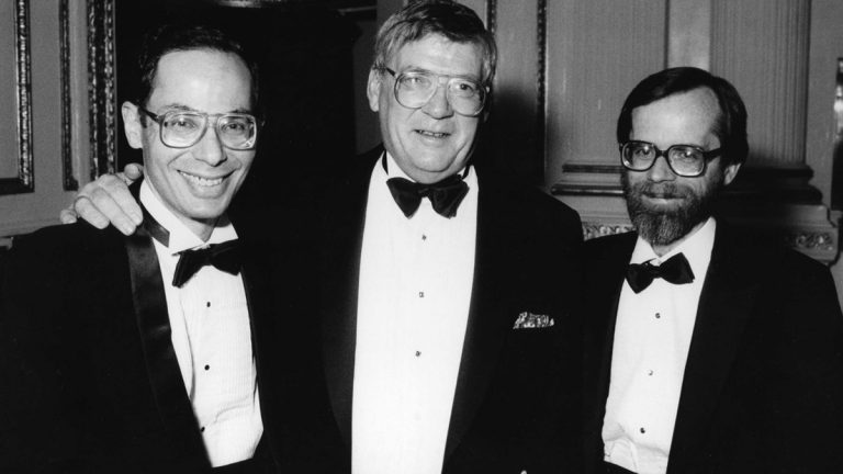 Dr. Alan Leviton (left), Dr. Herbert Needleman, and Dr. David Bellinger at the Charles A. Dana Foundation Award ceremony in 1989. Needleman won an award for his research on lead poisoning. (Photo courtesy of David Bellinger)