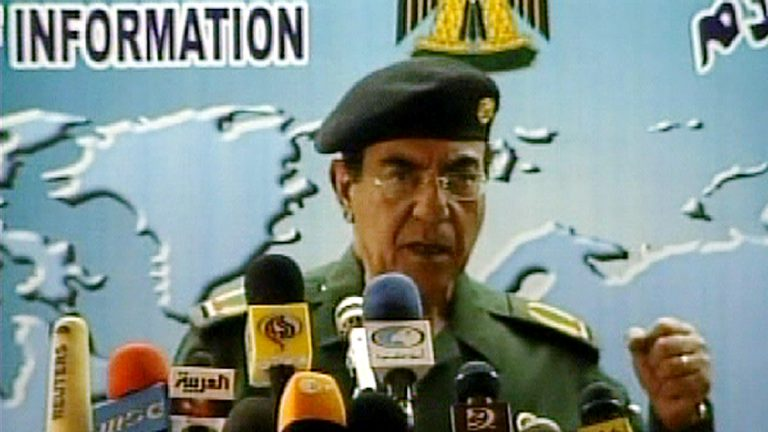 During the Iraq War in 2003, Iraqi Information Minister Mohammed Saeed al-Sahhaf confidently proclaimed Saddam Hussein's forces were winning, when they weren't. (AP Photo/APTN)
