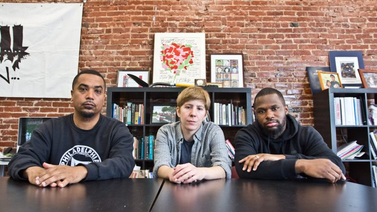 (From left) Hiram Rivera, Sarah Morris and Joshua Glenn are the organizers of the Philly Mama's Bail Out Day. (Kimberly Paynter/WHYY)