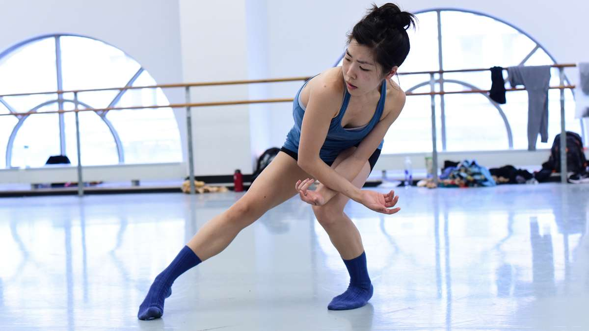 Andrea Yorita rehearses for ''Identity without Attribute,'' an original ballet choreographed by Matthew Neenan. (Bill Hebert/BalletX)