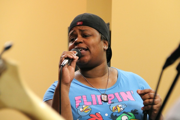 <p><p>Ericka Glenn belts out a song with her Article 15 band matesduring rehearsal in Cherry Hill. (Emma Lee/for NewsWorks)</p></p>