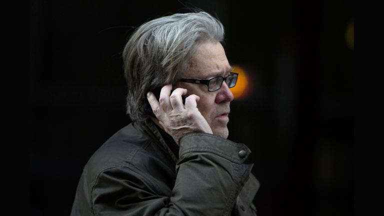 In this file photo, Steve Bannon, then senior advisor to then President-elect Donald Trump, makes a call outside Trump Tower on Friday, Dec. 9, 2016, in New York. (Kevin Hagen/AP Photo)