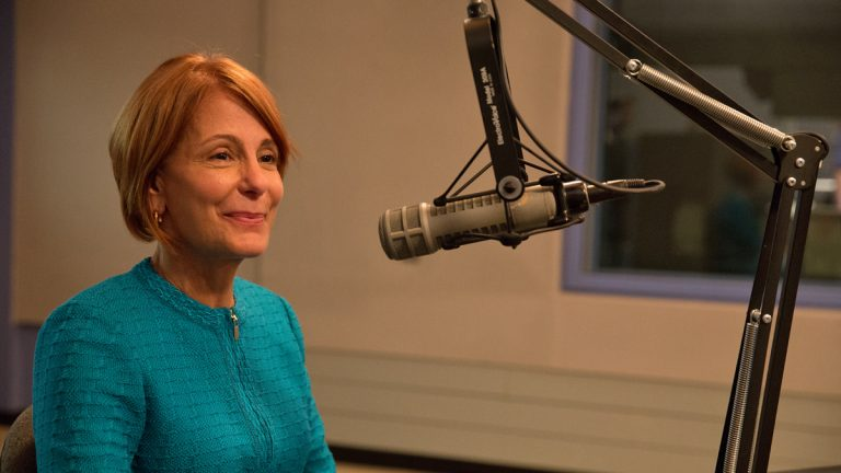 N.J. State Senator Barbara Buono answers questions from NewsWorks Tonight host Dave Heller at WHYY.  (Lindsay Lazarski/WHYY)