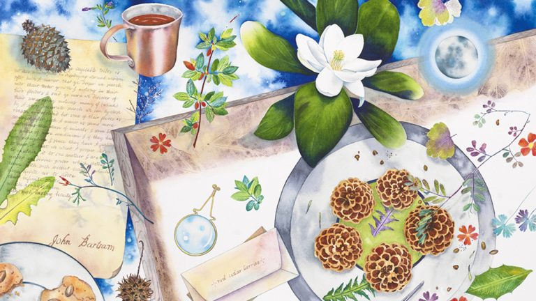 Laura Bethmann's 'Packing Seed Boxes With John Bartram' Nature Print Painting 2017 (Provided)