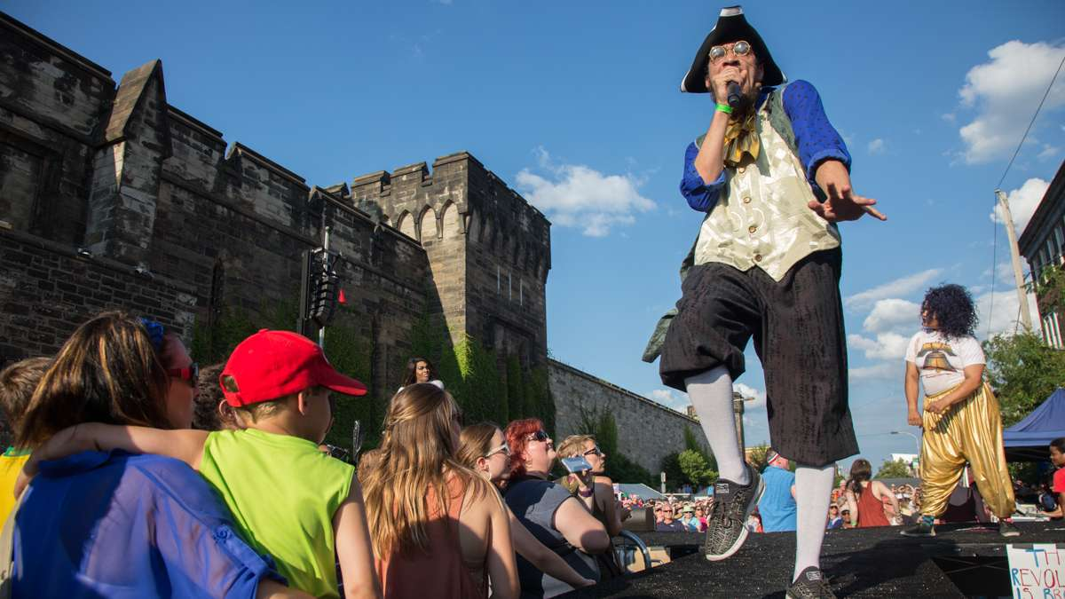 The Bearded Ladies Cabaret blends a camp account of the French Revolution with a satirical look at current events during their annual Bastille Day performance at Eastern State Penitentiary. (Emily Cohen for NewsWorks)
