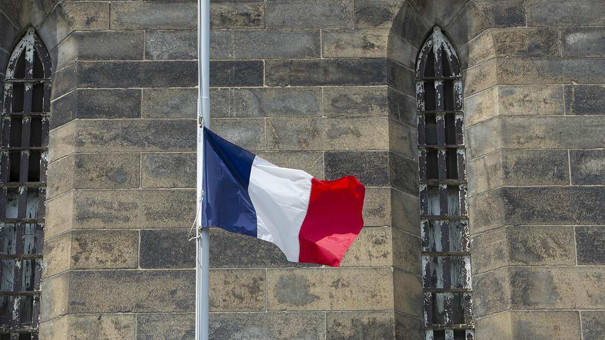 Honoring the victims of the Nice terrorist attack, the French flag was lowered to half-staff.