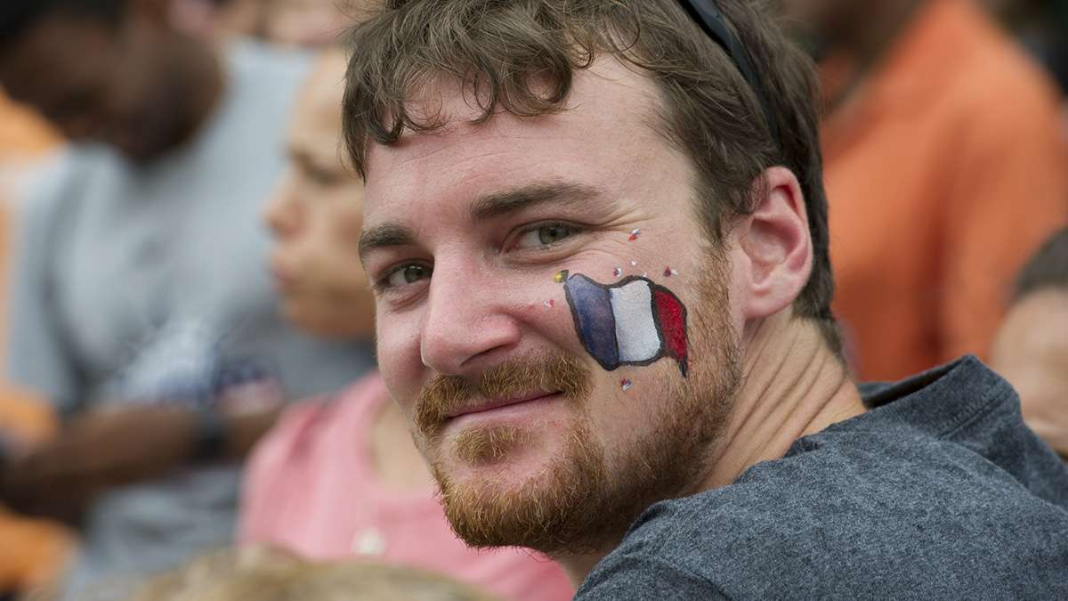 Visiting the United States, Florian Euzen of Paris, France, came to see Philadelphia's Bastille Day festivities.