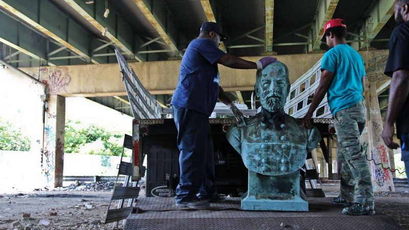The Bust of General James Beaver, the 20th Governor of Pa., was found Friday at FDR park in South Philly. (Kimberly Paynter/WHYY)