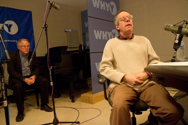 "<p>John Timpane sings ""The First Noel"" during a recording of WHYY's radio play, ""Certain Poor Shepherds.""</p>"