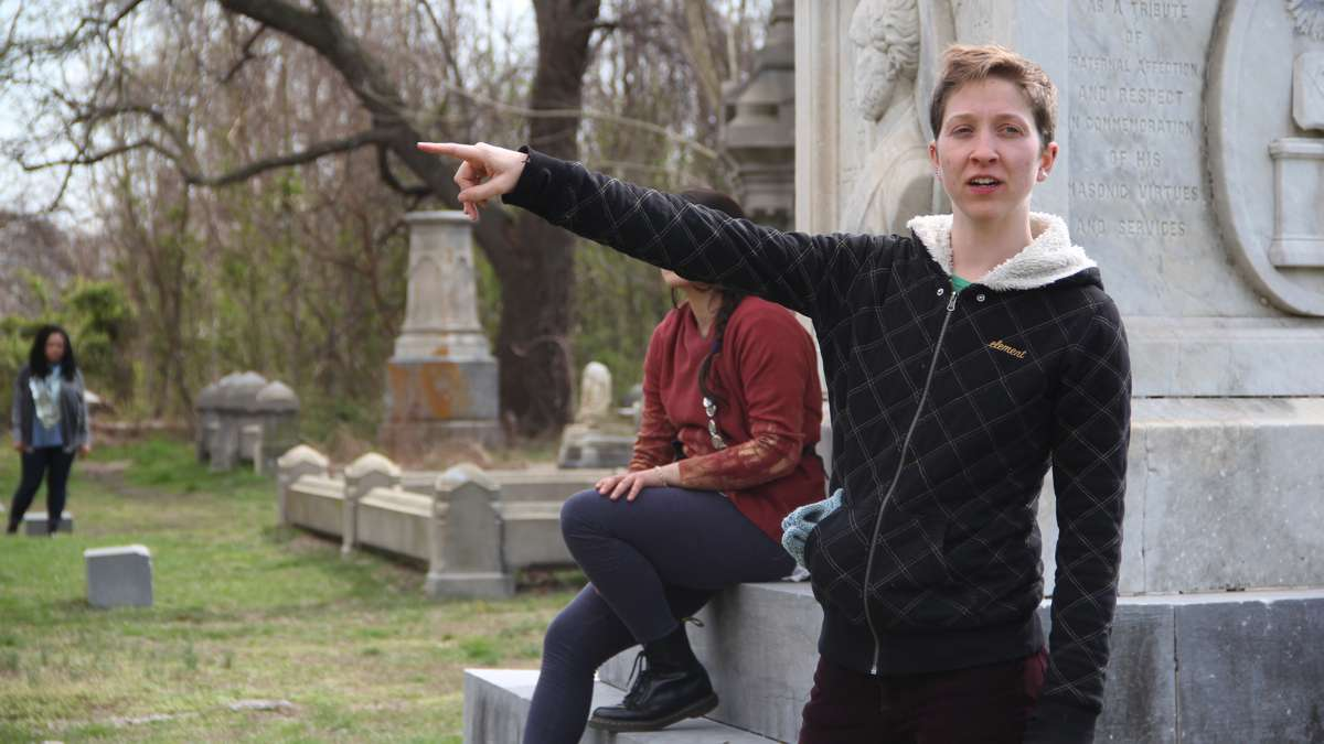 Maura Krause directs Beowulf/Grendel at Mount Moriah Cemetery in West Philadelphia. (Emma Lee/WHYY)