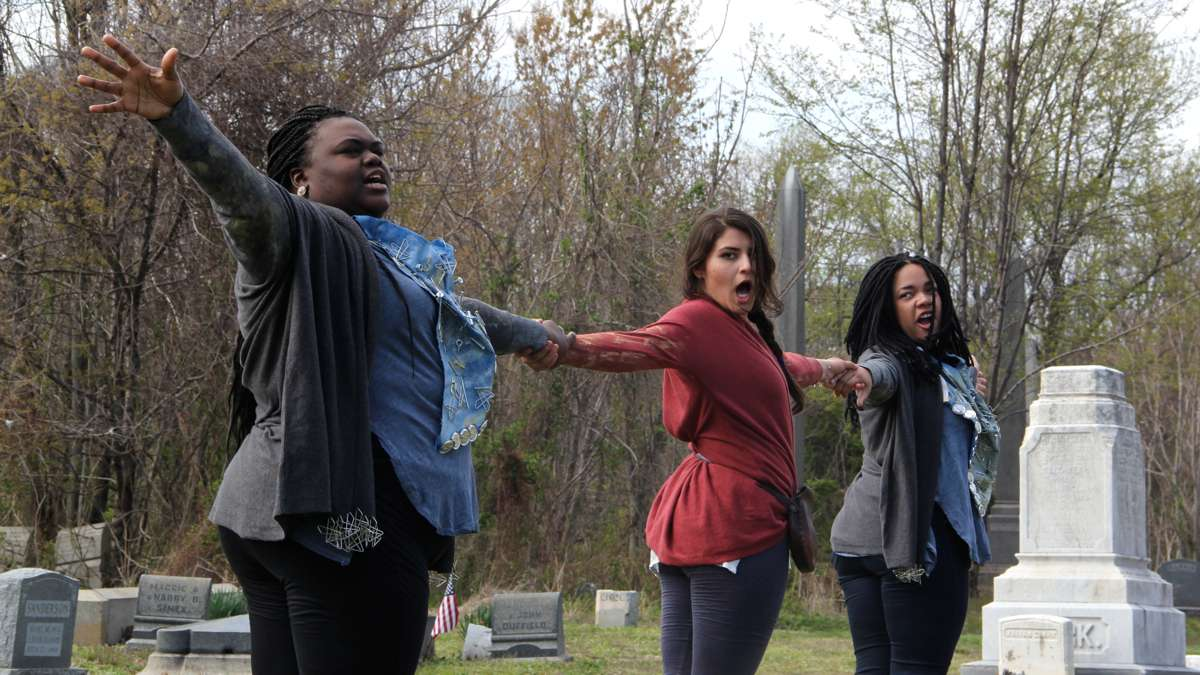 The cast of Beowulf/Grendel will lead their audience through the vast cemetery, separating and reconnecting. (Emma Lee/WHYY)