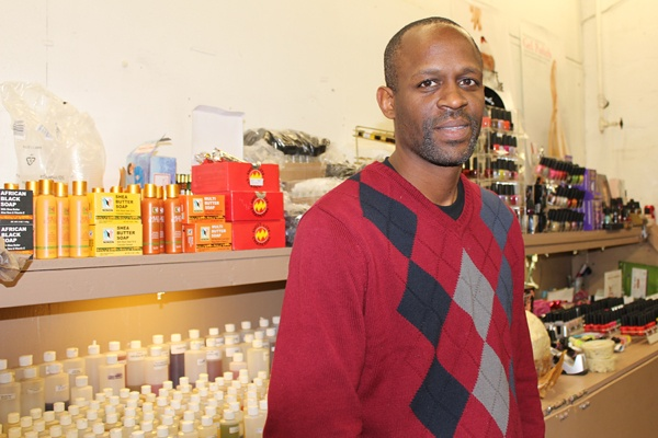 <p><p>Hassan Wagstaff, an accountant and entrepreneur, opened a stand selling incense and perfumed oils with his wife Sabrina Walker a few months ago at the Berlin Farmers Market. (Elisabeth Perez-Luna/WHYY)</p></p>
